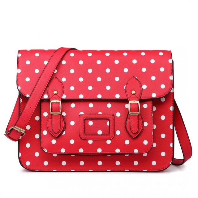 Kabelka - aktovka, bodkovaná, satchel, červená