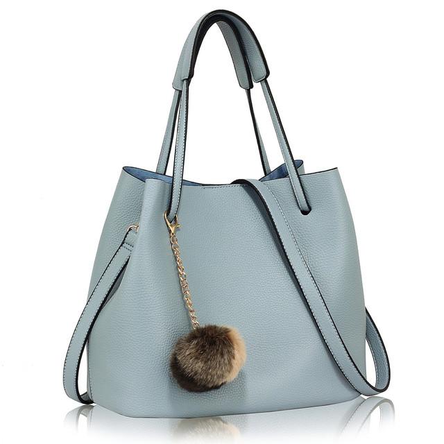 Kabelka - Ariana, eko kožená, s príveskom, modrá