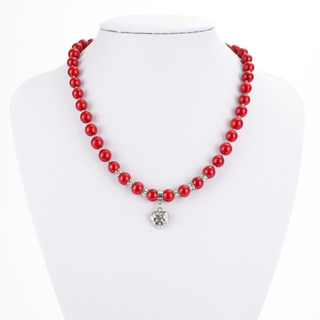 Náhrdelník - shell perlový, so srdiečkom, červený