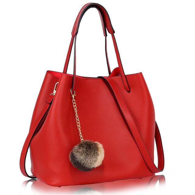 Kabelka - Ariana, eko kožená, s príveskom, červená