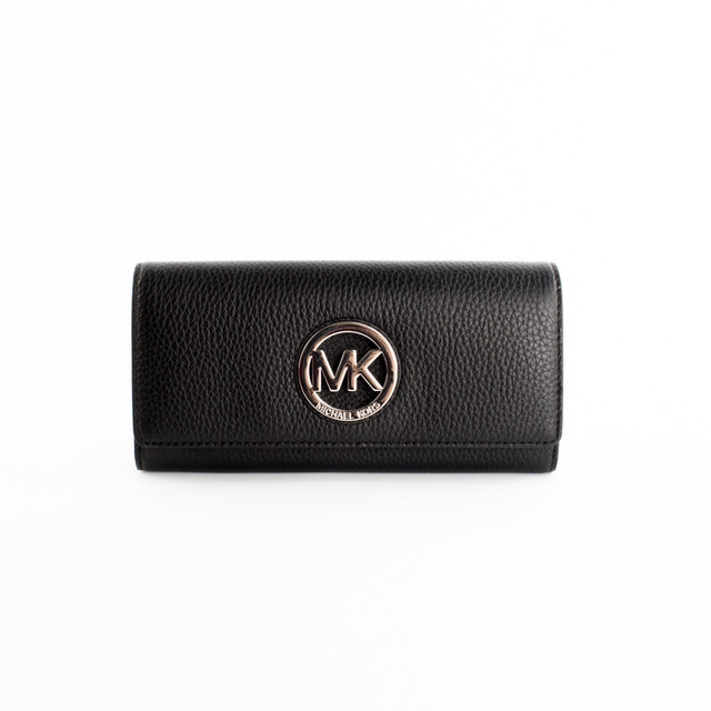 Michael Kors peňaženka - Fulton flap continental, black/silver