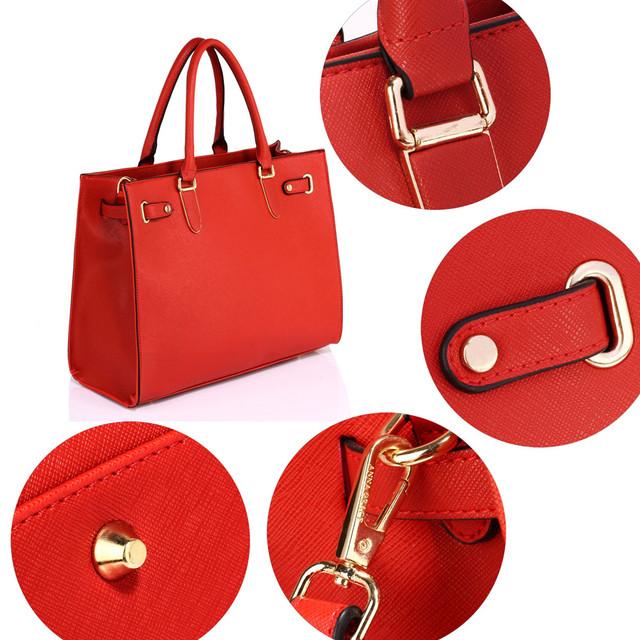Kabelka - bussiness elegance, grab, cez rameno, červená