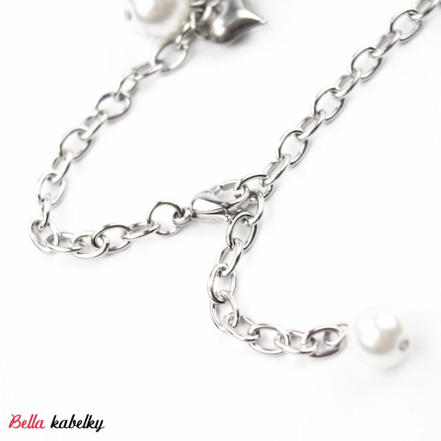 Náramok - perlový so srdiečkami, biely