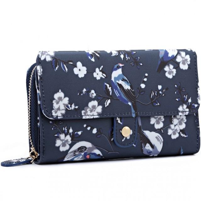 Peňaženka - štýlová, kvetinová, tmavomodrá