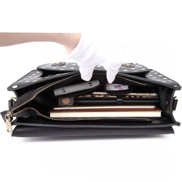 Kabelka - aktovka, bodkovaná, satchel, čierna