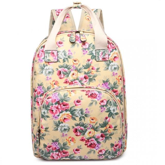 Batoh - kvetinový, školský, béžový