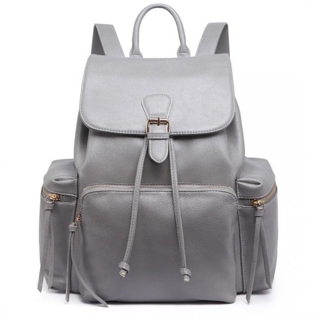 Batoh - vintage, veľký, eko kožený, sivý