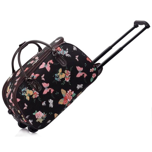 Cestovná taška - motýľová, látková, čierna