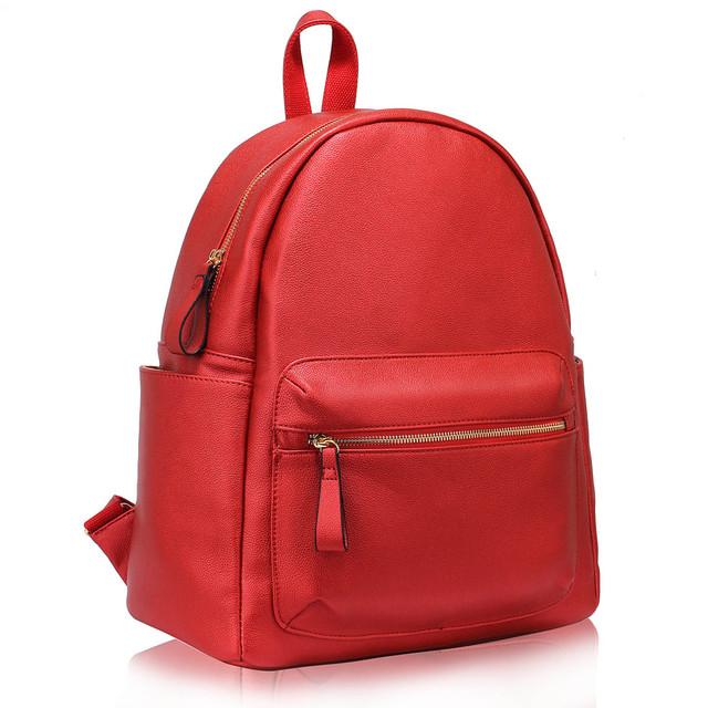 Ruksak - na zips, eko kožený fashion, s doplnkami, červený