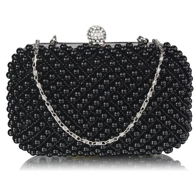 Kabelka - večerná, clutch s perlami, čierna