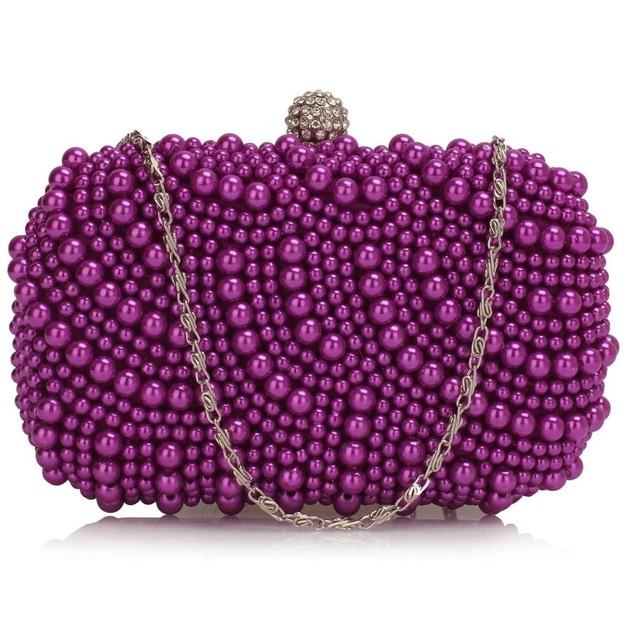 Kabelka - večerná, s perlami, fialová