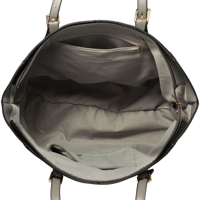 Kabelka - Zina, veľká, cez rameno, na zips, sivá