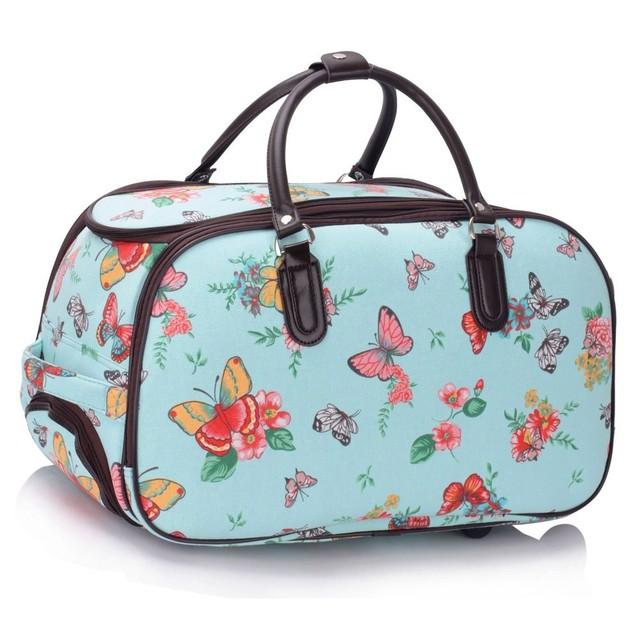 Cestovná taška - motýľová, látková, modrá