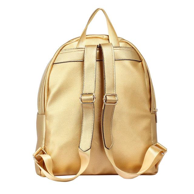Ruksak - eko kožený, školský, štýlový, zlatý