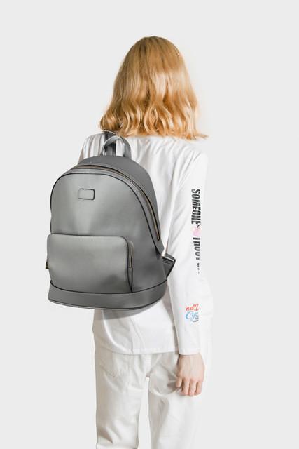 Batoh - do školy - práce, štýlový, eko kožený, sivý