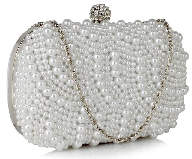 Kabelka - večerná, s perlami, biela