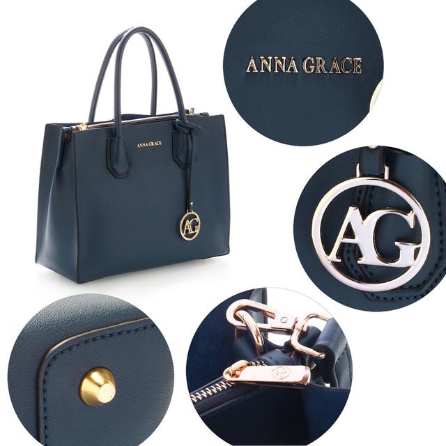 Kabelka - luxusná, Anna Grace, do ruky, tmavomodrá