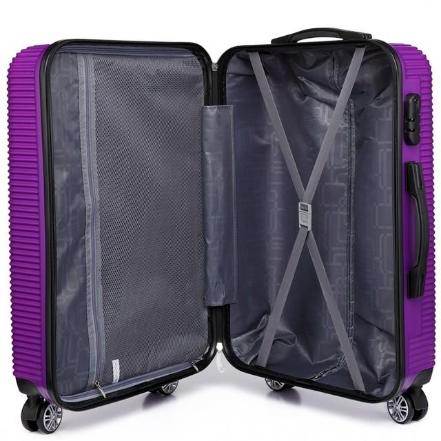Kufor - vrúbkový, na cestovanie, praktický, fialový