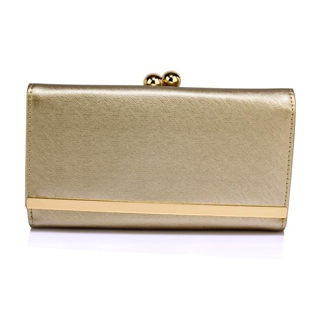 Peňaženka - elegantná, eko kožená, clutch, zlatá
