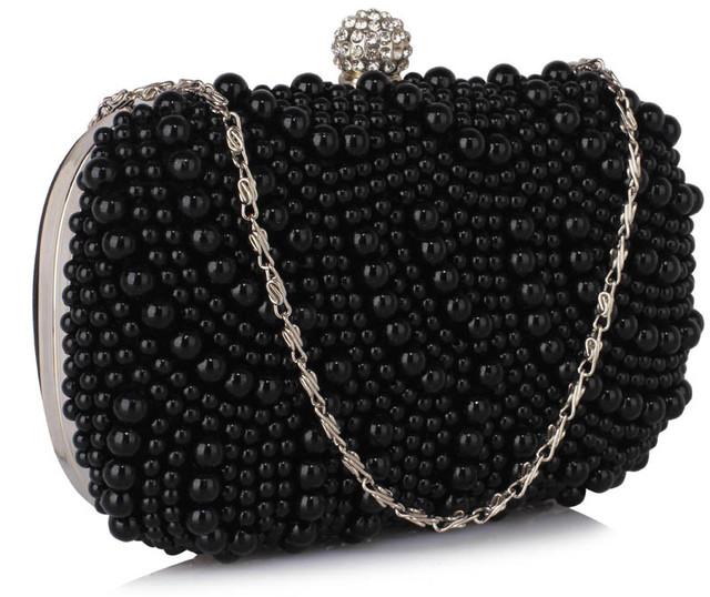 Kabelka - večerná, s perlami, čierna