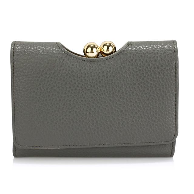 Peňaženka - so sponou, malá, eko kožená, šedá