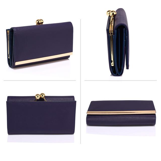 Peňaženka - elegantná, eko kožená, clutch, tmavomodrá