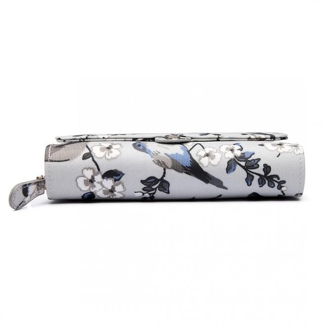 Peňaženka - štýlová, kvetinová, sivá