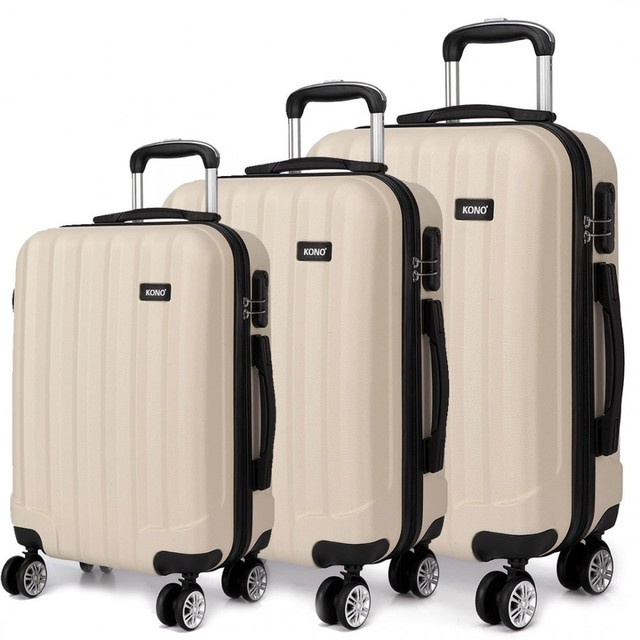 Set kufrov - tri kusy kufrov na cestovanie, unisex, béžové