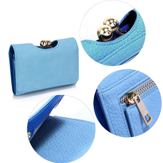 Peňaženka - so sponou, malá, eko kožená, modrá