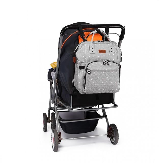 Batoh - bodkovaný dojčenský pre mamičky, šedý