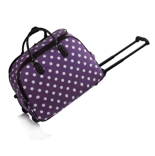 Cestovná taška - veľká cestovná, bodkovaná, fialová