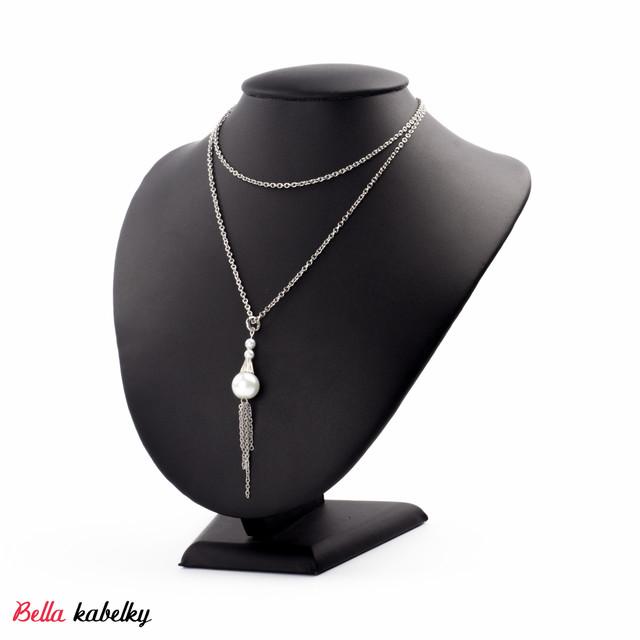 f0c4e834b Náhrdelník - dlhá retiazka s perlou, strieborný | Vypredané ...