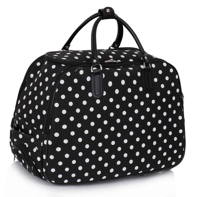 Cestovná taška - veľká cestovná, bodkovaná, čierna