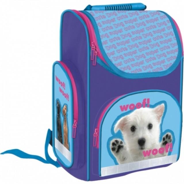 Taška - školská so psíkom, fialová
