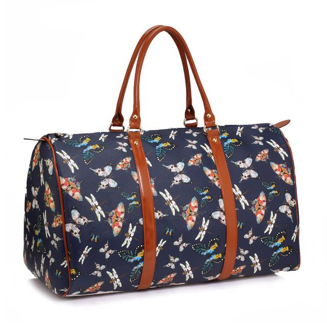 Cestovná taška - motýľová, víkendová z eko kože, tmavomodrá