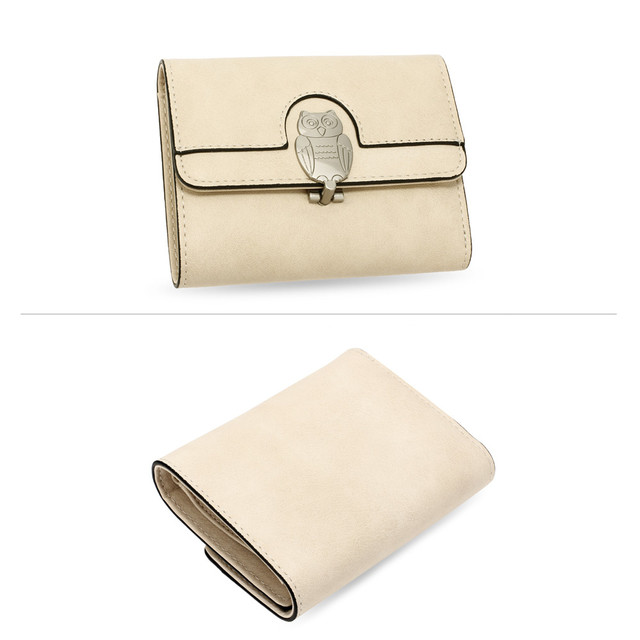 Peňaženka - so sova zámkom, malá, béžová