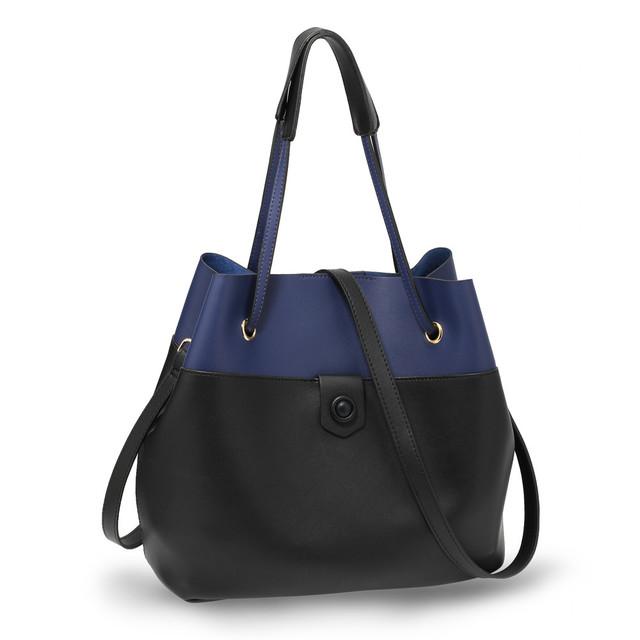 Kabelka - Azalia, dvojfarebná cez rameno, čierna/modrá