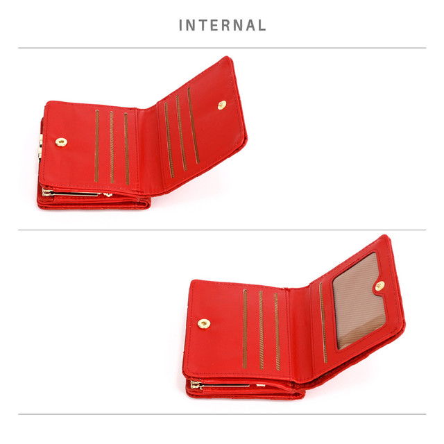Peňaženka - prešívaná, na mince s doplnkami, červená