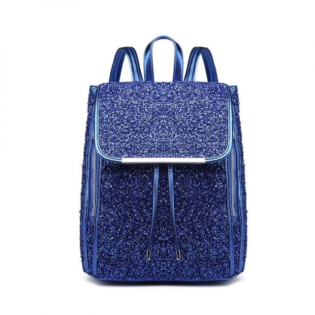 Batoh - štýlový trblietavý s doplnkami, modrý