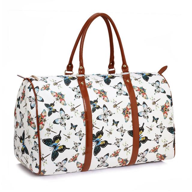 Cestovná taška - motýľová, víkendová z eko kože, biela