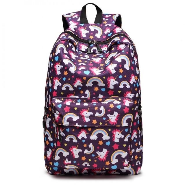 Ruksak - školský s jednorožcami, dievčenský, fialový