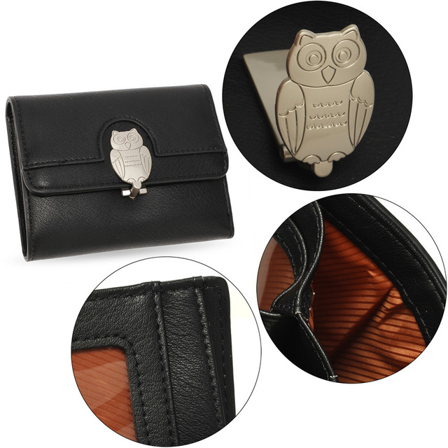Peňaženka - so sova zámkom, malá, čierna