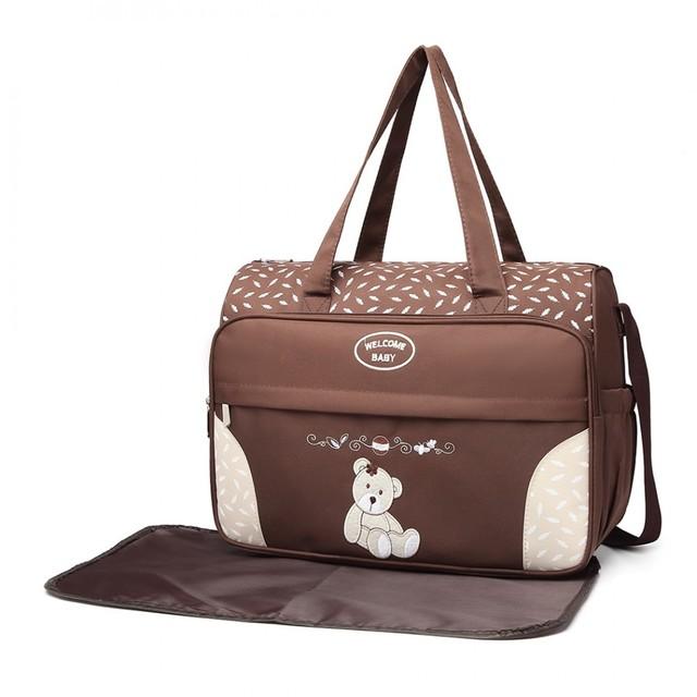 Taška pre mamičky - medvedíková, na zips s podložkou, kávová