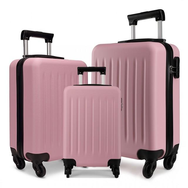 Set kufrov - rodinný, plastový, cestovný, ružový