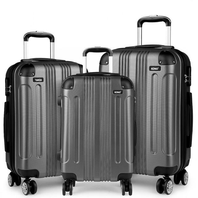 Set cestovných kufrov - pre rodinu, sivý