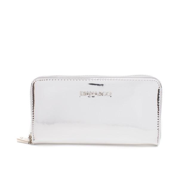 Peňaženka - lesklá, luxusná na zips, strieborná