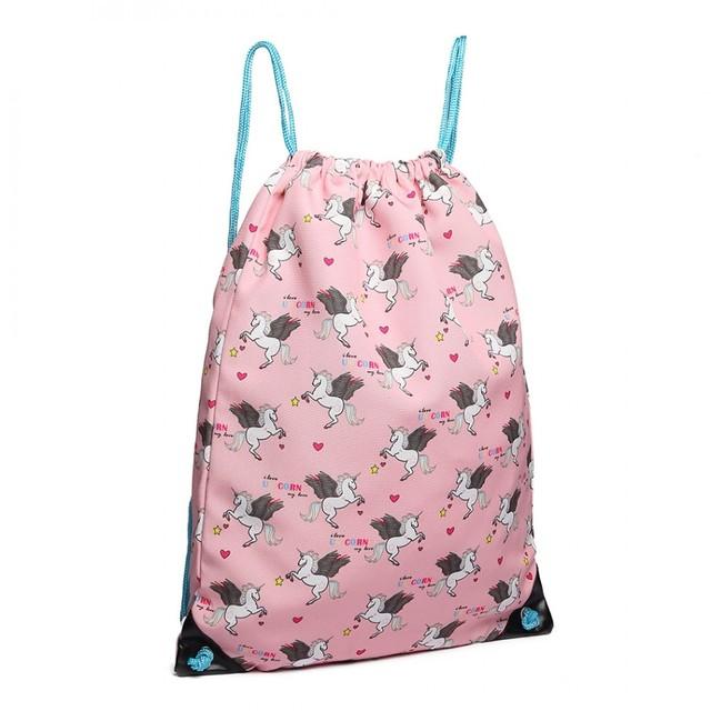 Batoh - sťahovací s jednorožcami, ružový