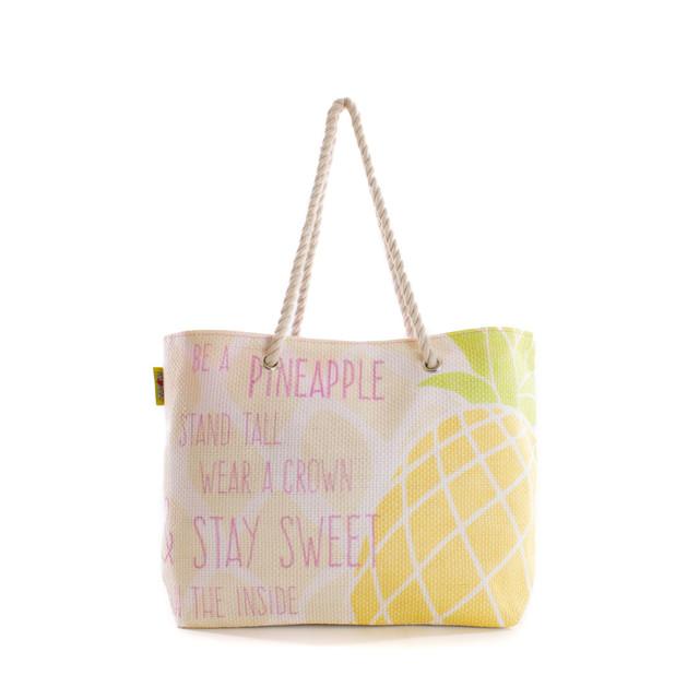 Taška - plážová s ananásom letná, ružová