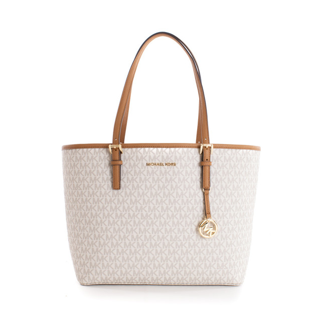 Michael Kors kabelka - Jet set travel MD carryall tote, vanilla/acorn