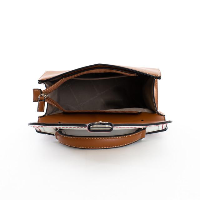 Kabelka - satchel do ruky na cvok DJ, hnedá